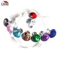 30mm Diamond Decorative Crystal Glass Door Dresser Usage Knobs Color Clear Black Green Blue Rose Gold Pink