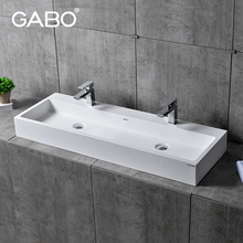 High quality solid surface bathroom double wash sink for barber