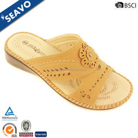 SEAVO 2016 sexy ladies punching flower roman open toe style beige wedge sandals