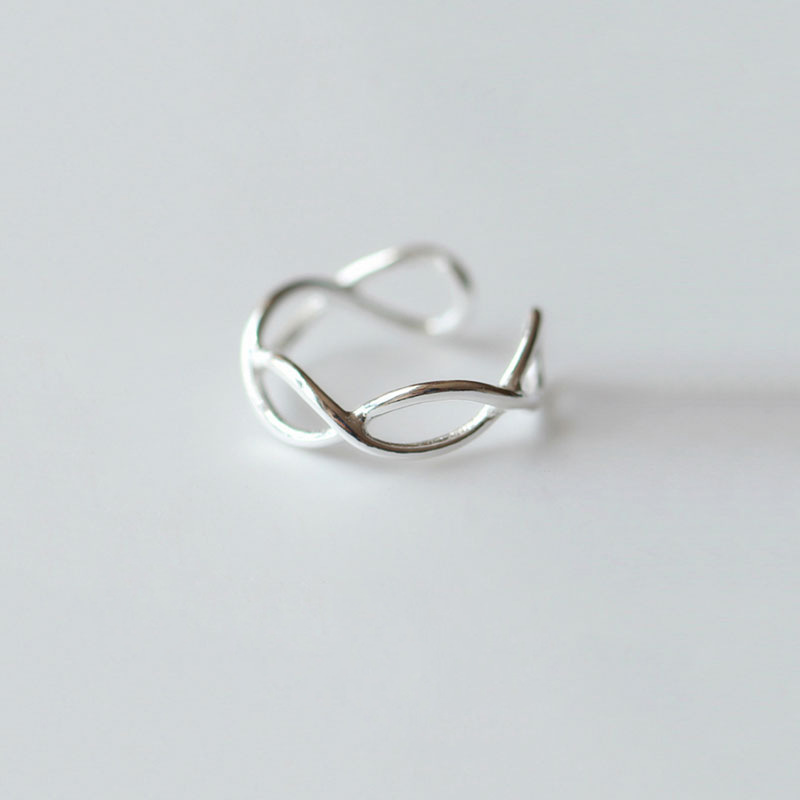 Pure 925 Sterling Silver Tail Waving Ring,Simple Dainty Tail Ring