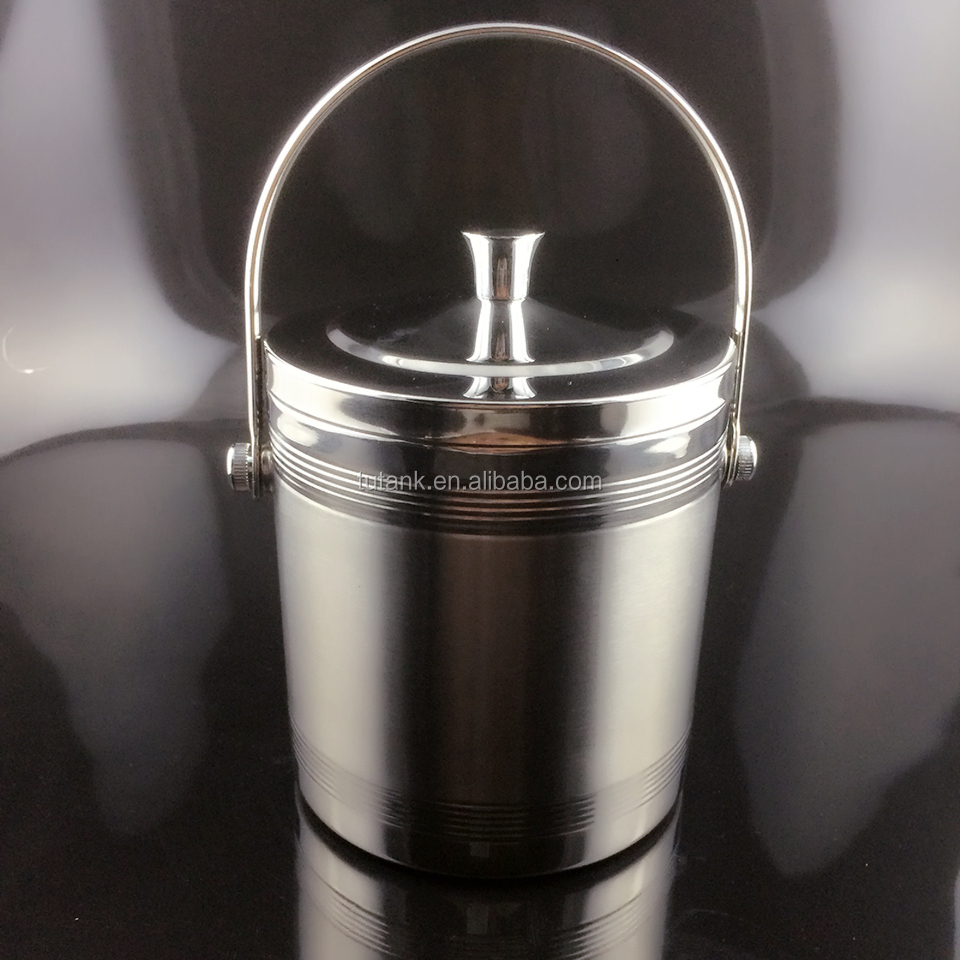 Stainless Steel Ice Bucket with Tongs and handles/double walled/1L/1.4L/2L/wine beer cooler/metal and sanding surface