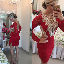 (MY2930) Sexy Long Sleeve Lace Beadings Backless Short Red Cocktail Party Dress