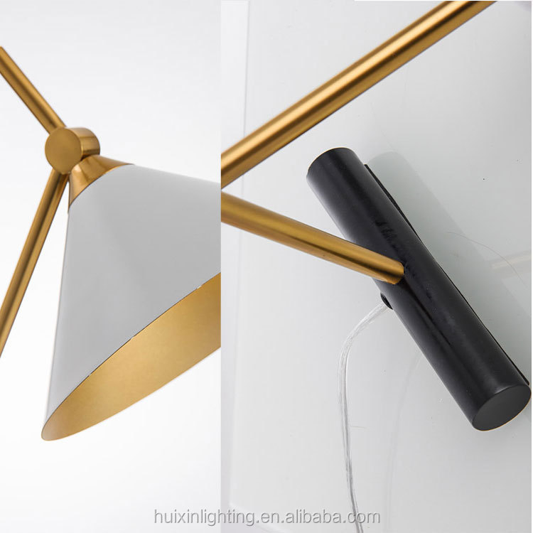 Marble metal triangle gold black chrome long arm reading bedside table lamp