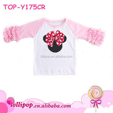 Girls Mouse Ruffle Raglan Shirt Embroidered Kids Icing Ruffle Raglan T Shirts Valentine Ruffle Raglan Shirt