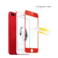 New Coming !! 3D Curved full cover red color tempered glass screen protector for red iphone 7
