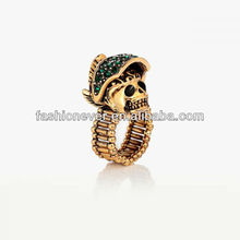 Gold Plated Pave Green Rhinestone Helmet Skull Cocktail Stretch Ring