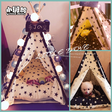 Pet Teepee Tent - Portable Cat Dog Puppy Snuggle House with Removable Cushion Mat, 100% Natural without mat