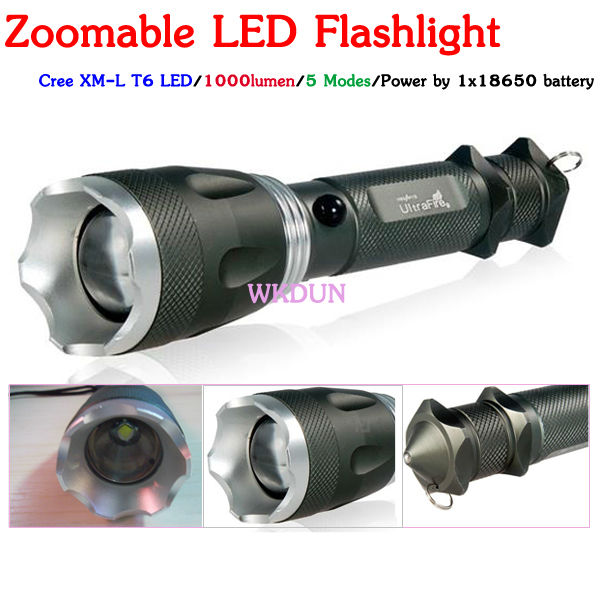 Logo zoomable Ultrafire 1000 lumen 5 modes 18650 rechargeable battery Cree XM-L T6 LED Flashlight