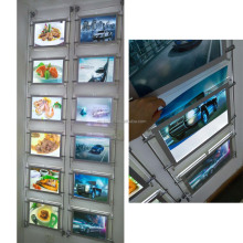 a4 acrylic frame cable wire hanging display system real estate led window display
