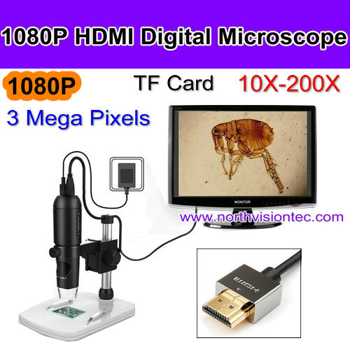 10-200X HDMI output 1080P digital video microscope with video recording