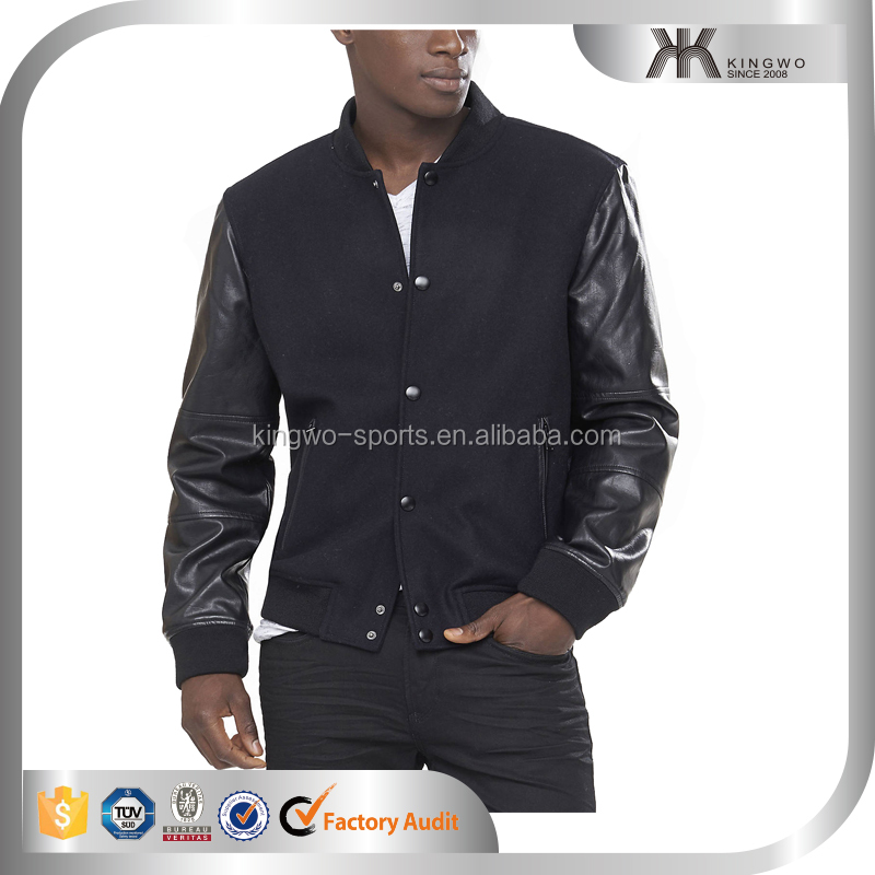 Wholesale custom mens plain black wool varsity jacket with PU leather sleeves, bomber jacket