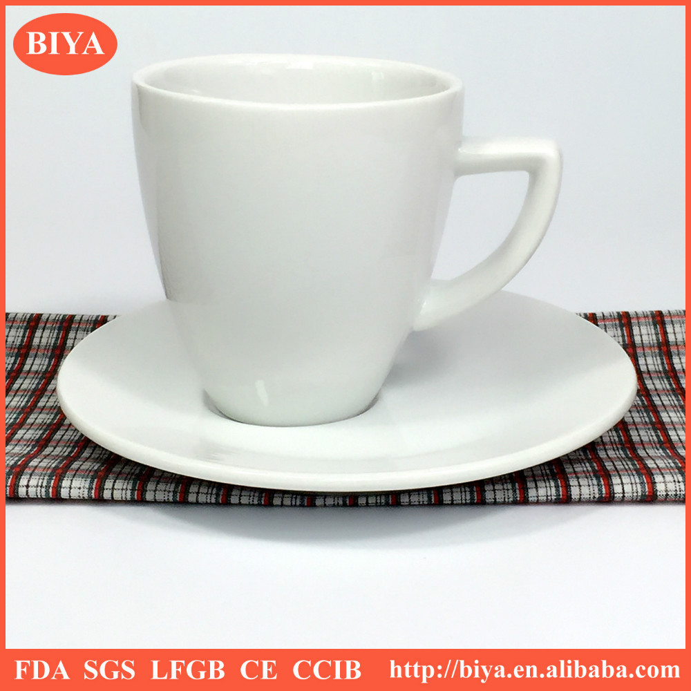tea cup set prices hot sales white porcelain cup and saucer, modern ceramic hotel and restaurant espresso coffee cup and dish