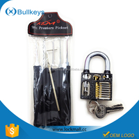 Bullkeys klom lock Picks set with Cutaway Practice Padlock for professional Locksmith