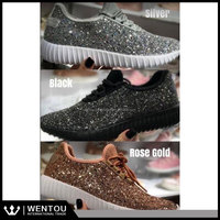 Wholesale Women Gold Glitter Sneaker Shoes
