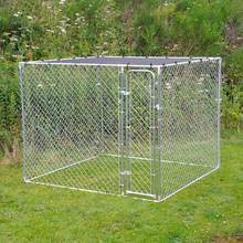 Large outdoor galvanized chain link metal animal cages