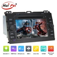 High quality Android 5.1.1 central multimidia for Toyota land cruiser 120 prado android car dvd with GPS BT Phonebook SWC