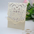 Pearl ivory pocket style luxurious laser cut wedding invitation card