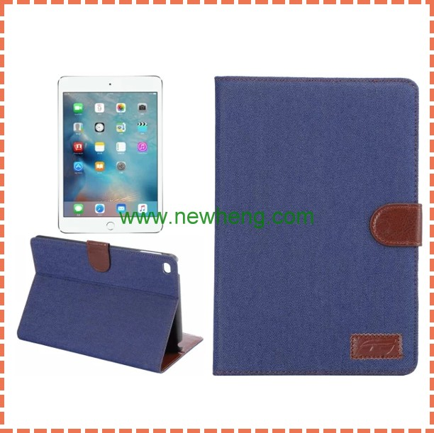 Wallet leather flip tablet case for iPad Mini 4,denim cowboy style leather case for ipad mini4