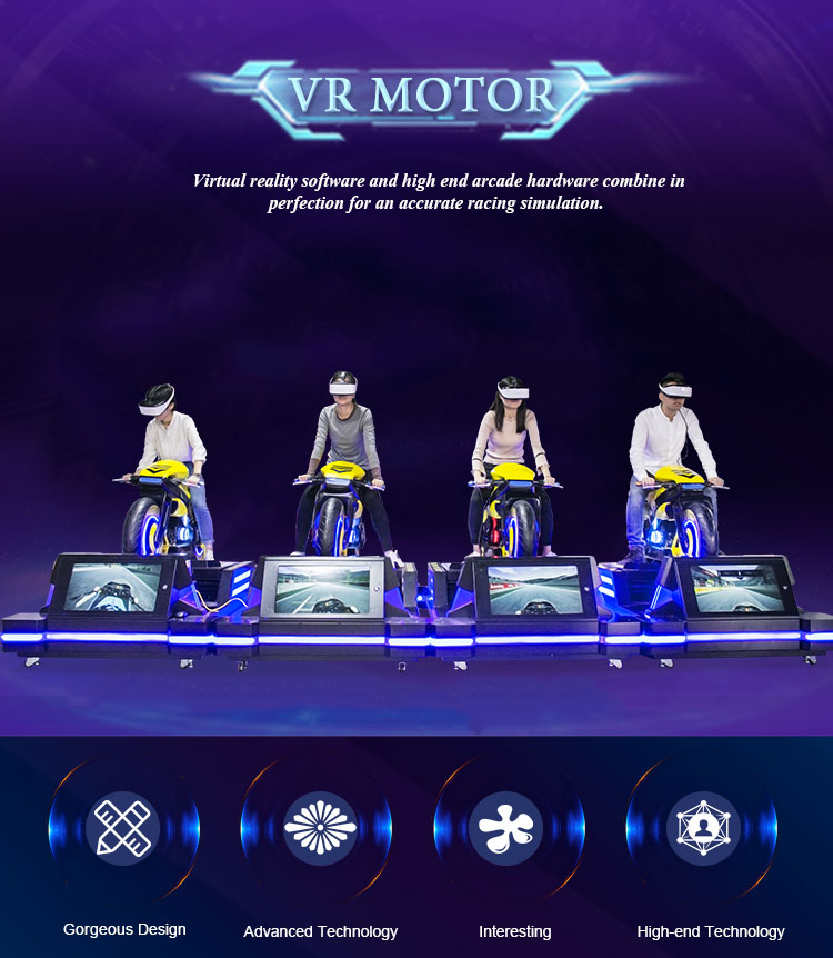 Virtual reality racing game full motion simulator amusement park motorbike