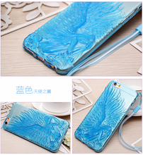 Blue Color Angel King TPU phone case for iphone 4/4s/5/5s/6/6plus