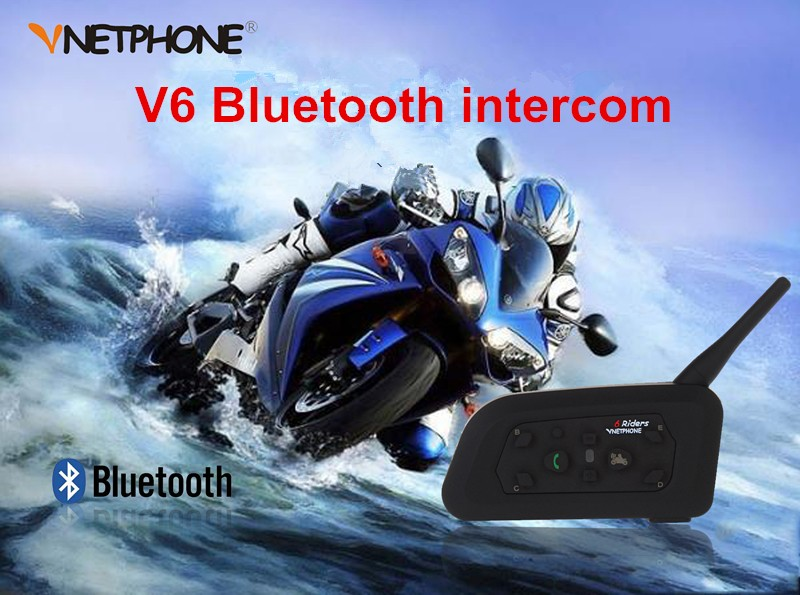 Wholesale! V6 Wireless Hands free Walkie Talkie Bluetooth Motorcycle Helmets for 1200 meters 6 riders talking