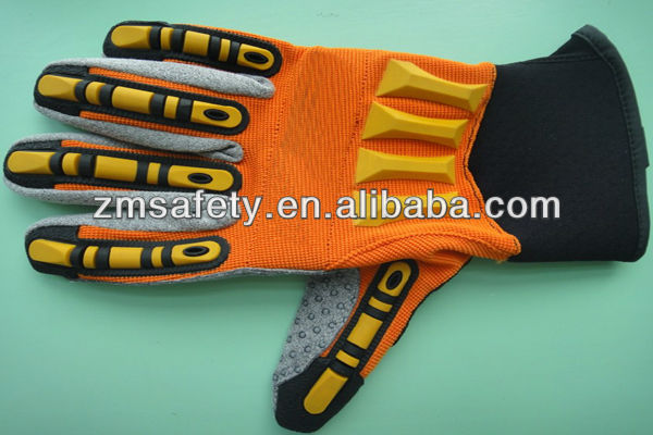 Knuckle Protection Impact Safety Mechanic Gloves for Oil and Gas Industry