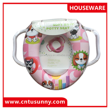 Reusable drawing dogs toilet seat for baby with two handrails