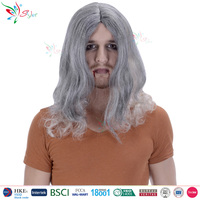 halloween party cosplay devil wig mens synthetic ombre curly gray wig