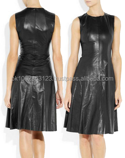 High Quantity OEM Lady Black Leather Elegent Dresses Mini Dress