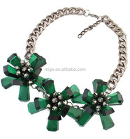 7 color options 3 big flowers Resin Necklace vintage alloy resin jewelry necklaces Gun black chain necklace N2379