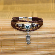 Ally Express Wholesale Leather Bracelet Evil Eyes Charm With Owl Best Birthday Gift For Boyfriend