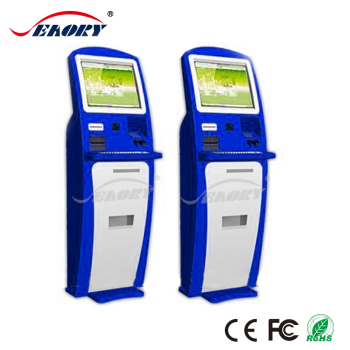 19 inch touch screen cash payment kiosk with barcode scanner