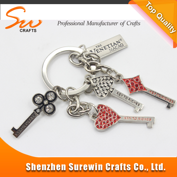 Nickel free metal key chain logo with key for valentine's day