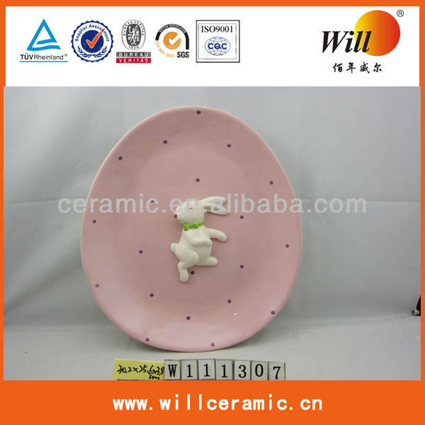 Round ceramic rabbit plates,easter bunny plates