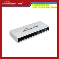 Blueendless 3 Ports USB 3.0 Hub Multi Function Card Reader Support SD/XD/MS/CF/TF Card With DC Adapter