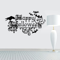 bats Halloween quotes background decoration wall sticker living room bedroom wall stickers removable carved waterproof decals