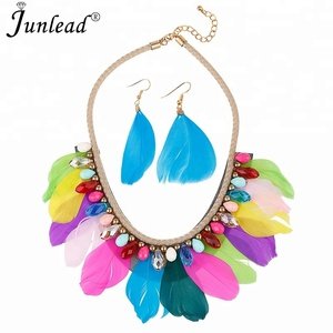 Junlead Boho Colorful Feather Tribal Pendants Necklace Set Statement Choker Ethnic Trendy Crystal Set Necklace For Women Jewelry