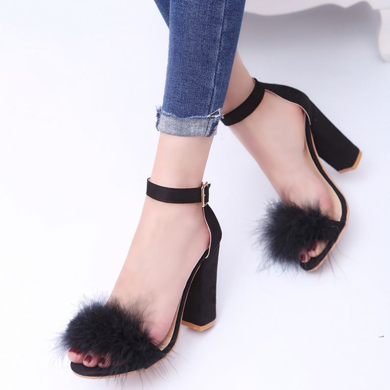 2017 China factory Women Fashion high heel ankle strap fur <strong>sandals</strong>