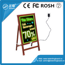 Hot new products free standing message boards 90 flashing modes wooden alike portable sign board advertising boards with fluores