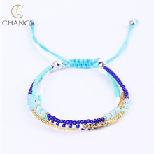 Hot sale boho braided multi layer seed bead bracelet for girls and women