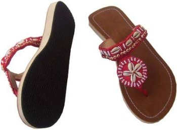 Beautiful Beaded And Shell Slipper