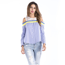 Sexy New Fashion Summer Off-Shoulder Custom T-Shirt Chiffon Long Sleeve Striped Patchwork Woman Top Blouse
