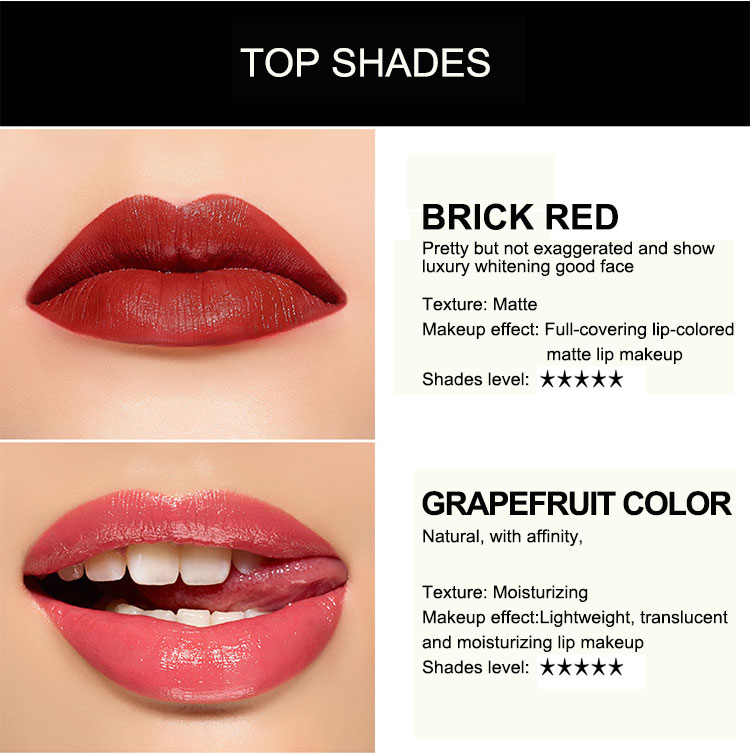 OEM ODM moisturizing nourishing waterproof matte lipstick for makeup QUEENBE 6 color