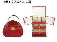 Luxury Red PU Leather Set Jewelry Case or Box With Handle P984