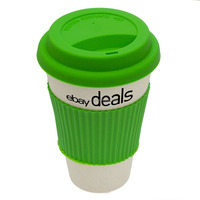 Hot Selling Eco Cup Silicone Lid Sleeve Plastic Coffee Mug