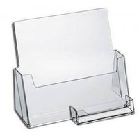 Clear Acrylic Brochure Holder with Business Card Holder