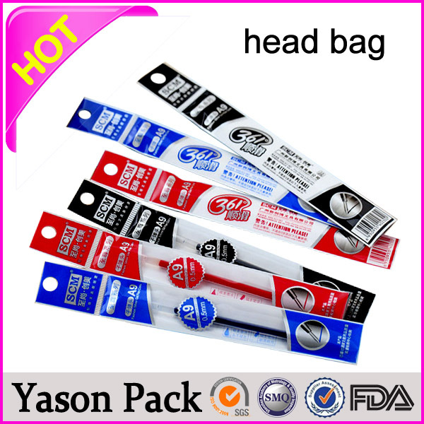 YASON pvc header card opp header standing up bag for biscuit transparent opp bags with colorful header