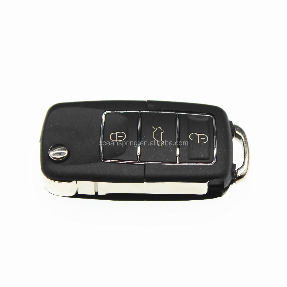 Volkswagen black plastic infrared car key with replace fake key, 3 buttons