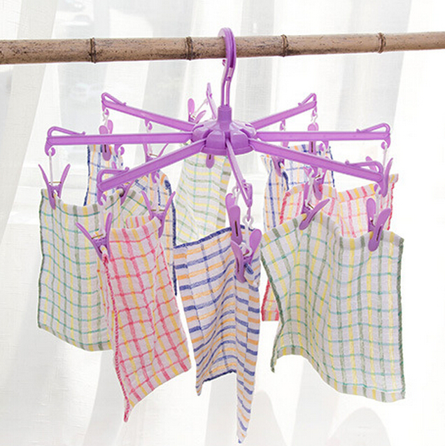 16 windproof round folding clothes hanger hanging clothes drying underwear socks plastic hanger clip for sale