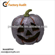 artificial large elliptical shining glittered plastic craft pumpkins for GIFT